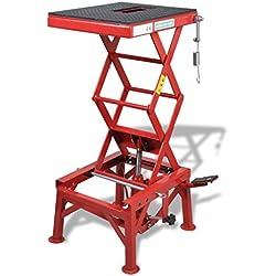 Festnight Table Élévatrice en Acier Q235 pour Motos Rouge 135kg 35 x 41cm