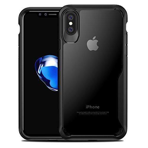 iPhone X Handyhülle , Voroar Stoßfeste Handy Hülle aus TPU und PC Kunststoff KratzfesteSchutzhülle Transparente Case Qi-Kompatibele Cover Robuste Handycase, Schwarz