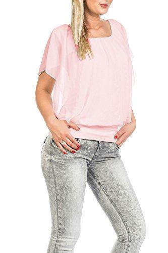FreyFashion - Made in France Hochwertiges Damen Shirt Tunika Bluse T-Shirt Top Kurzarm, Stark Reduziert Rosa