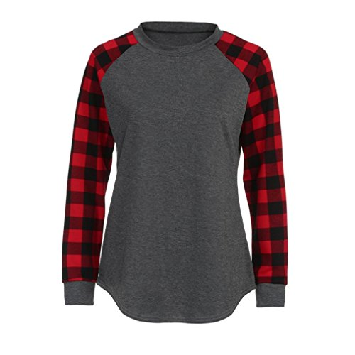 Momola Femme O-Neck Manches Longues Pull-Over Shirt Chemisier Rouge