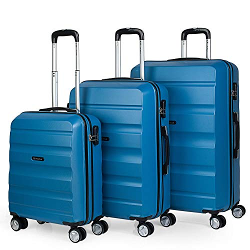 ITACA - Juego de Maletas de Viaje Rígidas 4 Ruedas Lisas Trolley 55/67/77 cm ABS. Prácticas y Ligeras. Pequeña Cabina Mediana y Grande XL. Calidad Marca y Garantía. T71600, Color Azul