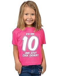 Mädchen zum 10. Geburtstag 10 Jahre alt T-Shirt - Geschenk Idee Kindergeburtstag Kindershirt Ich bin 10 …und echt cool drauf! Geburtstagsgeschenk Kinder Spruch lustig bedruckt in pink : )