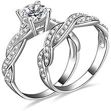 JewelryPalace Donna Gioiello 1.5ct Zirconi Fascia di Cerimonia Nuziale Anello di Fidanzamento Anniversario Promessa Sposa Anelli Set 925 Argento Sterling Regalo di San Valentino