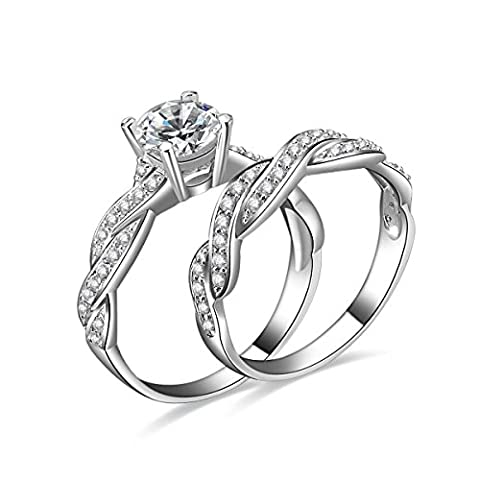 JewelryPalace Women 1.5ct Infinity Cubic Zirconia Anniversary Promise Wedding Band Engagement Ring Bridal Sets 925 Sterling Silver Size M 6.5