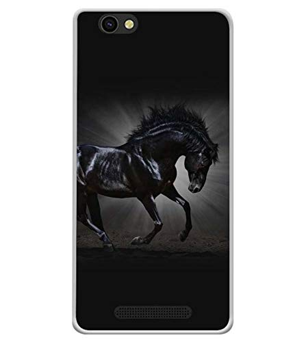 Bluethroat Graceful Black Horse Galloping Designer Printed Soft Silicone Mobile Case Back Cover for Xolo ERA X