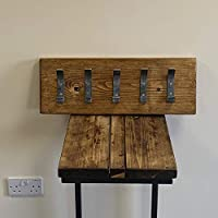 Rustic Reclaimed Wooden Coat Rack Coat Hooks Solid Wood Dark Oak Handmade Hooks