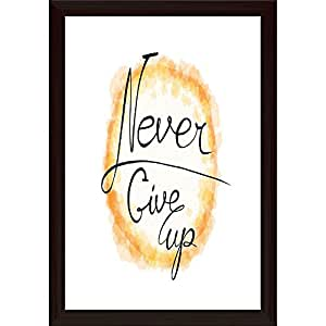 AZ Never Give Up Paper Poster Dark Brown Frame with Glass 9.5 x 13.5inch