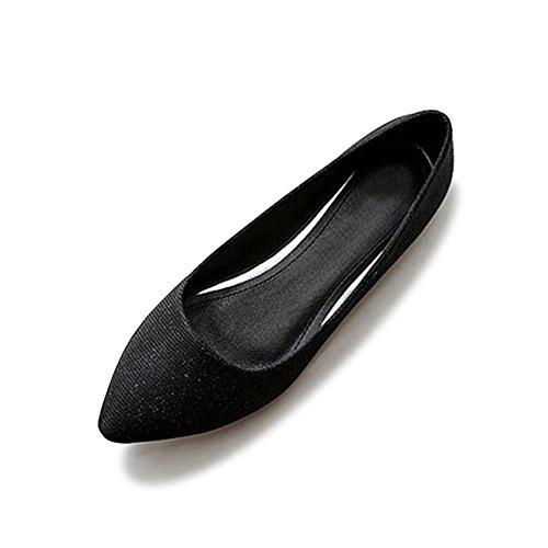 OCHENTA Femme Ballerines Plate En Tissu Mode Simple Poiture 34 - 44 Noir