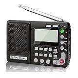 Retekess TR102 Radio Portatile FM/AM/SW Banda Mondiale Ricevitore Lettore MP3 REC Registratore con Temporizzatore di Sonno (Nero)