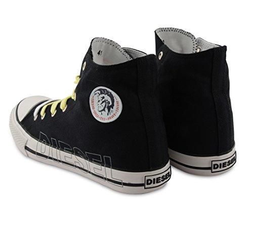 Diesel-High Top formateurs Casual plimsole Chaussures en toile Noir