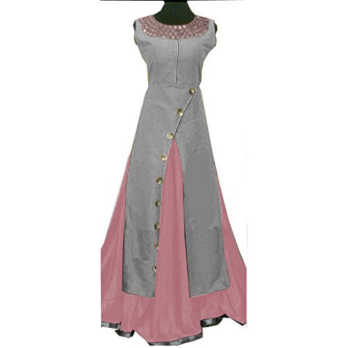 Ethnic Empire Women\'s Taffeta Silk Semi Stitched Anarkali Salwar Suit (Ethnic_FlexER10757_Gray_Free Size)