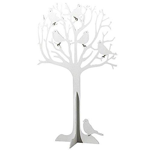 Deko-Woerner Holzbaum weiß 90cm, mit Vögeln