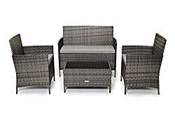 Evre Home & Living Rattan Garden Furniture Set Patio Conservatory Indoor Outdoor 4 piece set table chair sofa (Grey)