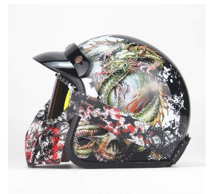 Motorradhelm,Retro Integralhelm, Rollerhelm Harley Helm Persönlichkeit Männer und Frauen Helm mit Sonnenschutzmaske Brille (S, M, L, XL, 2XL),5,M