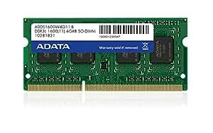 ADATA 4GB DDR3L 1600MHz 4Go DDR3L 1600MHz module de mémoire - modules de mémoire (4 Go, DDR3L, 1600 MHz, Ordinateur portable, 204-pin SO-DIMM, 1 x 4 Go)