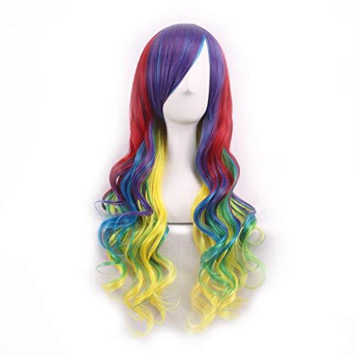 Damen Perücken Ombre Wig Lange Lockiges Haar Gewellte Volle Cosplay Perücken mit Pony SSUDADY Farbe Hitzebeständige Kunsthaarperücken für Karneval Party Fasching