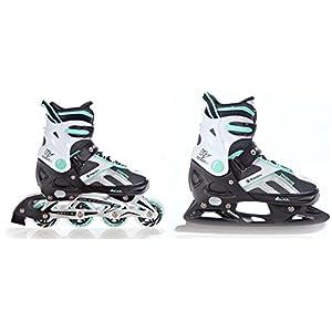 RAVEN 2in1 Schlittschuhe Inline Skates Inliner Pulse Black/Mint verstellbar