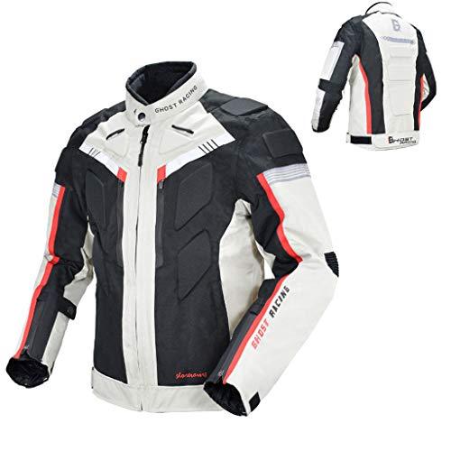 HAOHOAWU Textil-Motorradjacke, Motorradjacke Top 100% Wasserdichtes Fahrer-Lokomotiv-Rallye-Material Motocross ATV Guard Shirt,Gray,L - Diamant-motorrad-shirt
