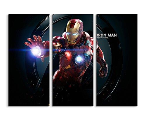 Kult Iron Man 2 Wandbild 3 teilig 120x90cm (jedes Teil 40x90cn) schöner Kunstdruck auf echter Leinwand gespannt auf Echtholzrahmen