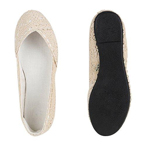 Damen Ballerinas | Slipper Flache Schuhe | Spitze Häkeloptik | Feminine Slip-ons | Stoffschuhe Strass Metallic Creme Strick