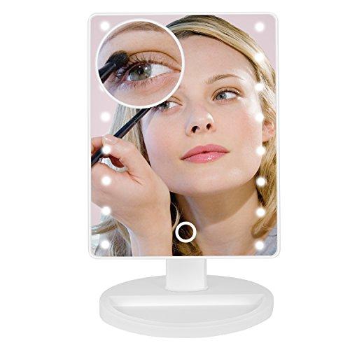Jopee Makeup Spiegel mit 16 LED Lichter & Touchscreen Dimmbar mit abnehmbaren 10-fach Vergrößerungsspiegel, 180° Schwenkbare für Bad, Schlafzimmer und Desktop (Weiß), Valentinsgrußgeschenk