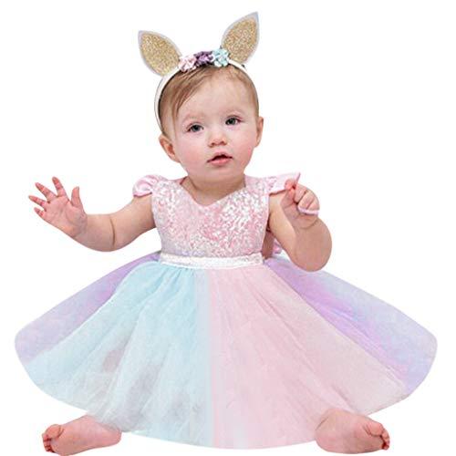 Kleinkind Geburtstag Kleider (MRULIC Neugeborene Prinzessin Kleid Einhorn Kleid Baby Mädchen ersten Geburtstag Outfit Regenbogen Kleid Ostern Pailletten Tutu Kleid Kleinkind(Rosa,18-24 Monate))
