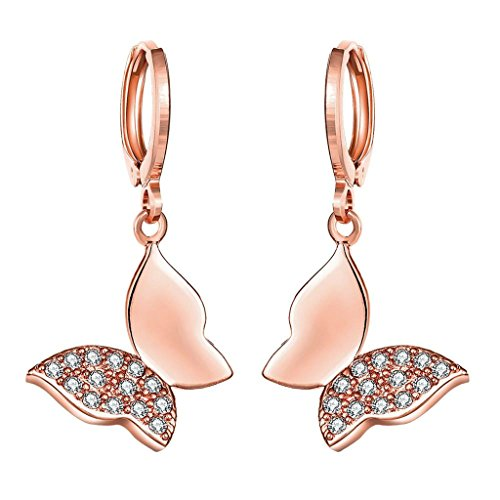 Beydodo 18K Rose Gold Vergoldet Ohrringe Damen (Tropfen-Ohrringe) Aaa Strass CZ Schmetterling Während Kristall Umweltschutz (Diy Boho Hippie Kostüm)