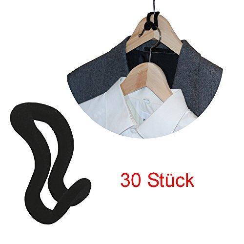 Kleiderbügel  Kleiderhaken Organizer - Ordnung und Platz im Kleiderschrank - Aufhänger Set aus 30 Stück - schwarz