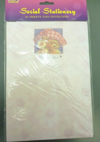 SET OF 3 - 60 Cute Bear Pink Thank You Notes With Envelopes [Toy]