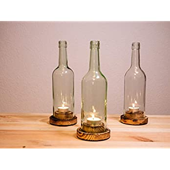 """Weinflaschen – Windlicht, Rustikal"""" 3er Pack"""