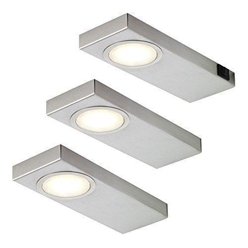 3-er Set LED Küchen Unterbauleuchte 3000 K warmweiß 3 x 3,5 W Edelstahlgehäuse *549245