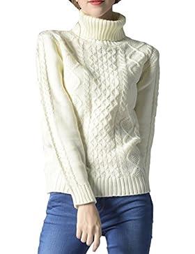 ELLAZHU Mujeres Moda Turndown Clooar mangas largas costillas Top Suéter YY54 Blanco S
