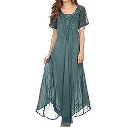 Sakkas 16603 -Vestido / Cobertor Egan largo de Caftán bordado con manga corta bordada-Azul dénim-OS