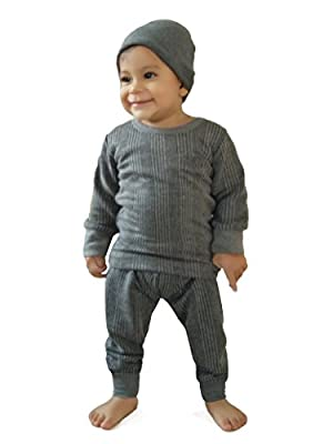 HAP Kings Round Neck Grey Melange Winter Thermal Set of Top Trouser & matching Cap for Kids /Thermal for boys and Girls/kids thermal