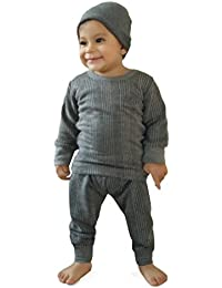 [Sponsored]Hap Kings Round Neck Grey Melange Winter Thermal Set Of Top Trouser & Matching Cap For Kids/Thermal For Boys And...