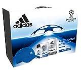 Adidas - Confezione Regalo UEFA Champions League - Arena Edition: Profumo Uomo 50 ml, Dopobarba 100 ml e Cappello Baseball Blu
