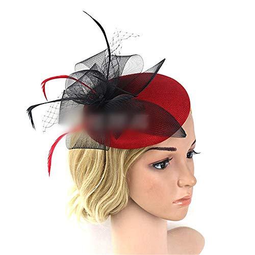 KERVINFENDRIYUN YY4 Hanf Gaze unten Mesh Kopfschmuck Bankett Pferd Kapelle Tiara Haarschmuck Braut Hut Kopfbedeckung (Farbe : Red)