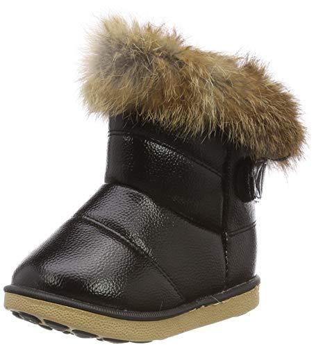 Schwarz Schnee Stiefel (HUHU833 Kinder Mode Mädchen Baby Stiefel, Warme Watte Gepolsterten Schuhe Kaninchen-Haar Dicker Schnee Stiefel Warm Schuhe (23 EU, Schwarz))