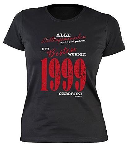 Sexy Mädchen Damen T-Shirt exklusiv zum 18. Geburtstag Lieblingsmenschen 1999 cooles Geschenk zum 18 Geburtstag Freundin Schwester 18 Jahre Gr: S, Farbe: Schwarz