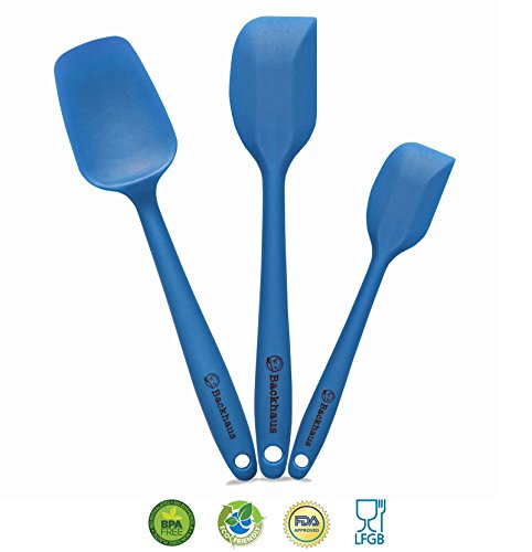 Backhaus Silicone Spatula & Spoon Set | 3 Versatile Kitchen Utensils Designed for Cooking, Baking and Mixing | One Piece Design, Non-Stick & Heat Resistant with Strong Stainless Steel Core (Blue) - Prime Day Offer -