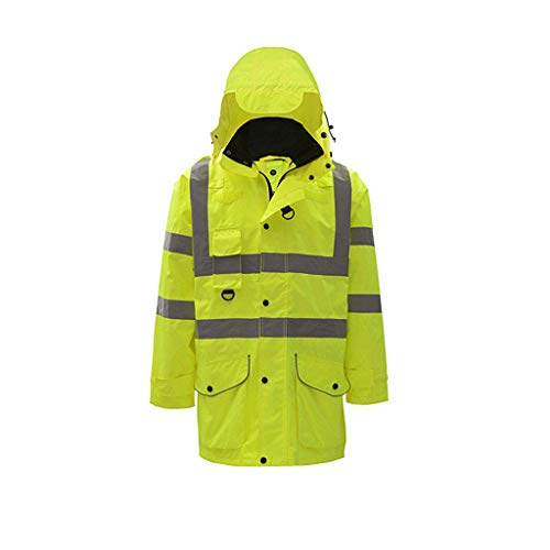 WYJW Cappotto di Cotone Riflettente, Abbigliamento per la Sicurezza del Traffico Stradale, Tuta da Moto Fluorescente, Giacca di Cotone da Strada, Cappotto da Uomo (Taglia: XXL)