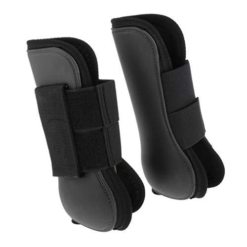 perfeclan 1 Paar PU Leder Pferde Vor Hinten Beinschutz Sehnenschoner Pferdegamaschen für Pferdesport - Schwarzer Vorderfuß