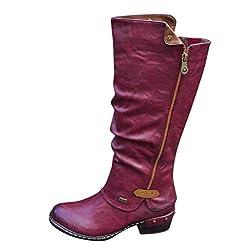 WUSIKY Bootsschuhe Damen Stiefeletten Boots Damen Fashion Western Style Cowboy Reitstiefel Casual Knie Mittelrohrstiefel (Rot, 39.5 EU)