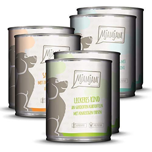 MjAMjAM - Premium Nassfutter für Hunde - Mixpaket I - Huhn & Ente, Rind, Pute, 6er Pack (6 x 800 g), getreidefrei mit extra viel Fleisch