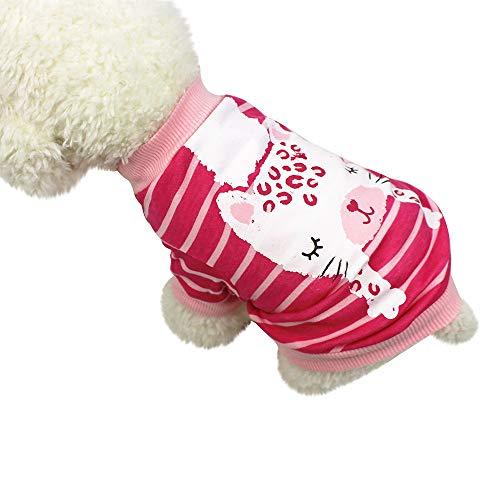 Smniao Sommer Haustierkleidung Hund Kleidung Kleine Hund Katze Baumwolle Tier Gedruckt T-Shirt Weste Rock Kostüm Hund Kleid (S, Heiß Rosa)