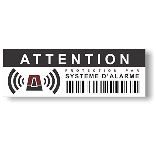 """12 Stück Aufkleber """"Attention - Protection par système d'alarme"""" - 10,5 x 3,5 cm - Hinweis auf Alarmanlage, außenklebend für Fensterscheiben, Haus, Auto, LKW, Baumaschinen,..."""