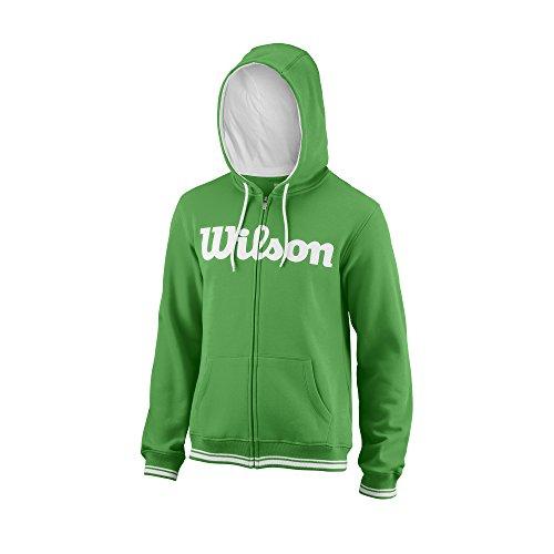 Wilson Herren Sport-Kapuzenweste, M Team Script FZ Hoody, Baumwolle/Polyester, Grün/Weiß, Größe: 2XL, WRA765902