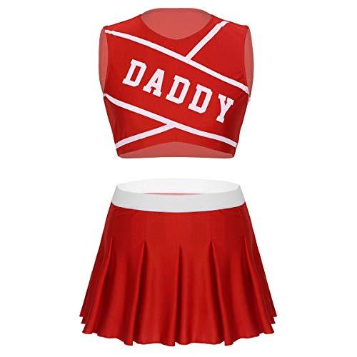 Kostüm School Cheerleader High Kind - Freebily High School Cheerleading Kostüm Jubeln Mädchen Uniform Damen Party Outfit Cosplay Kostüm Crop Top + Mini Faltenrock Rot X-Large