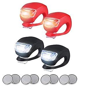 4pc LED Lampe Licht Fahrradlicht,LED Klemmlichter mit Silikonband für Fahrrad,Fahrradleuchte Fahrradlampe Rücklicht Fahrradlichter Set Push Clip,Alle Fahrräder,am Rucksack befestigt,Helm,Jacke
