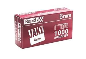 Rapid Agrafes JAKY, Longueur 6 mm, 5000 agrafes, Agrafe jusqu'à 20 feuilles, Fil robuste, 11720001